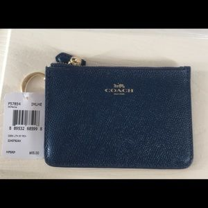 Coach key pouch / key chain coin purse in Navy
